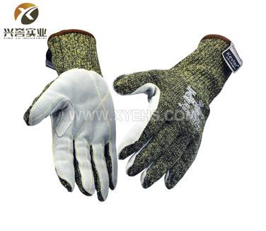 兴誉ZW043 迷彩钢丝加皮5级防切割手套